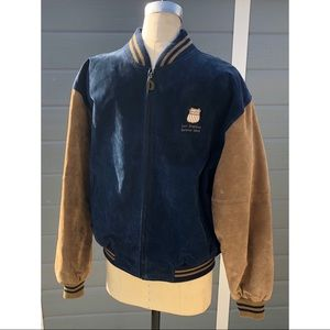 Union Pacific Railroad suede varsity jacket